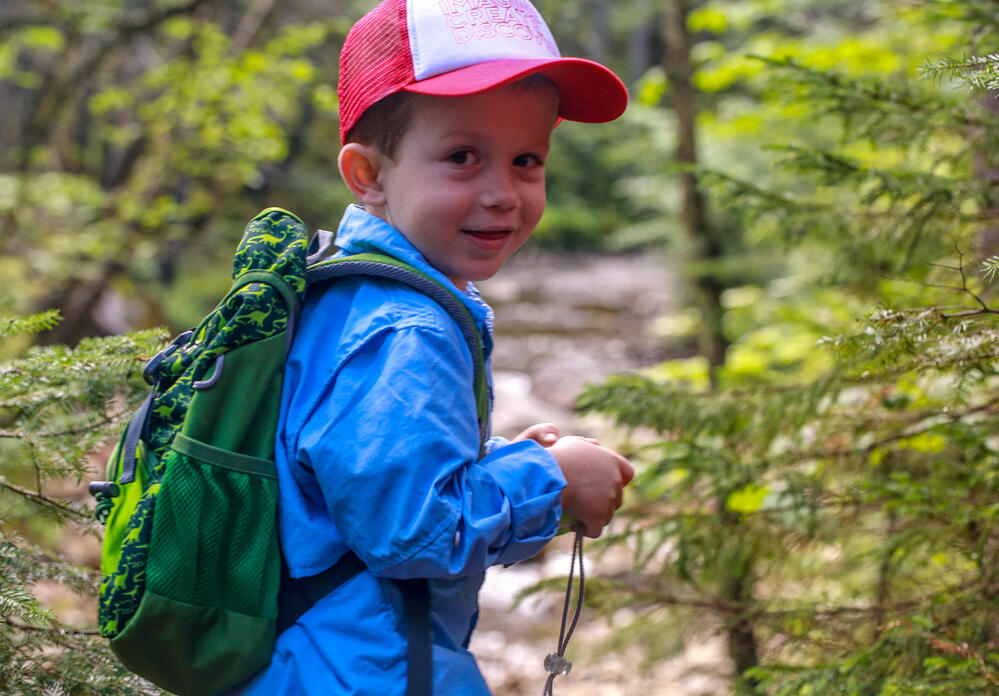Kid Backpacking in the woods