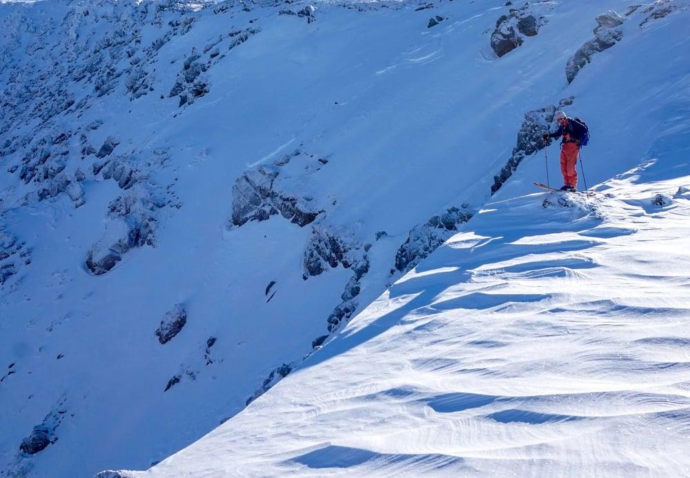 Backcountry Skiing on Windblown snow