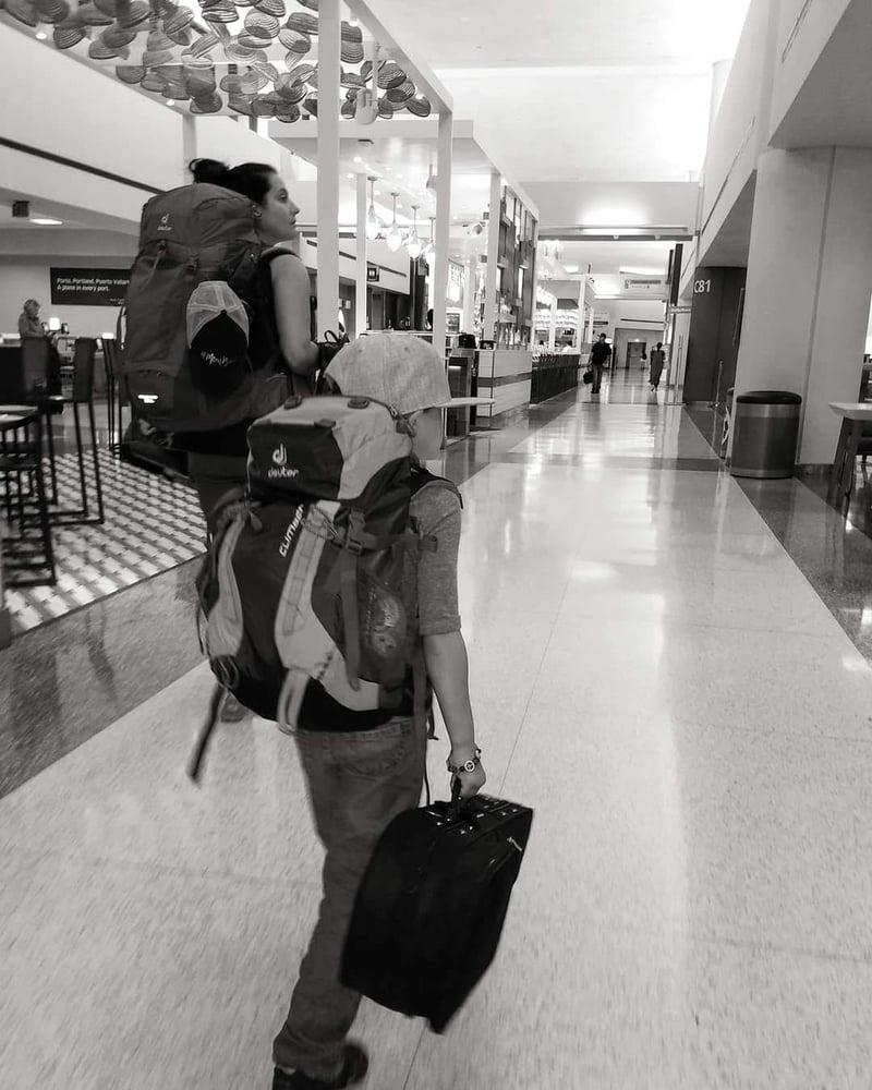 Travel, airport, kids, family, Deuter, bags