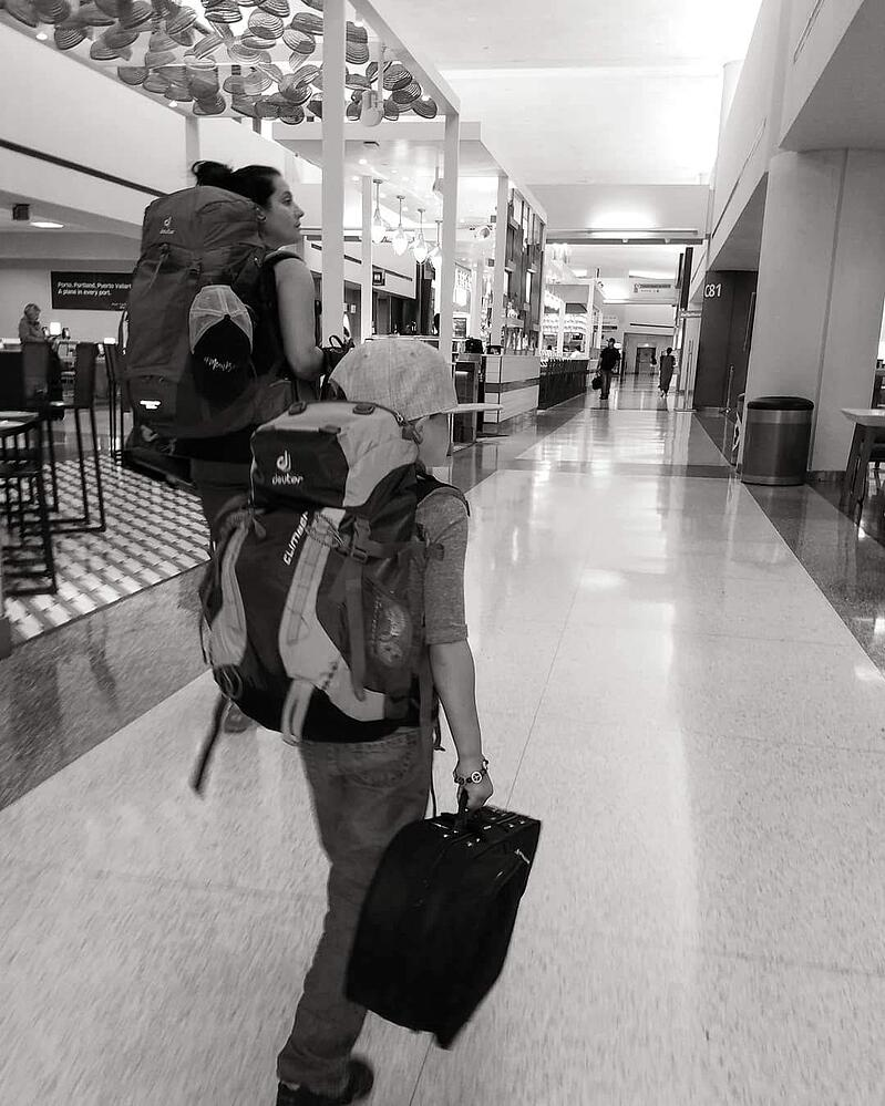 Travel, airport, kids, family, Deuter, bags