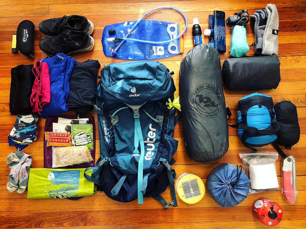 Backpacking gear for a solo hiking trip