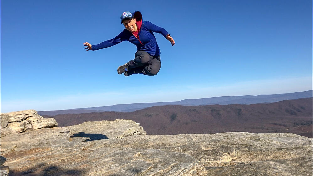 Jumping for joy in the Virginia mountains