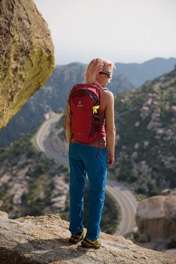The author with her Deuter Speed Lite 22 backpack
