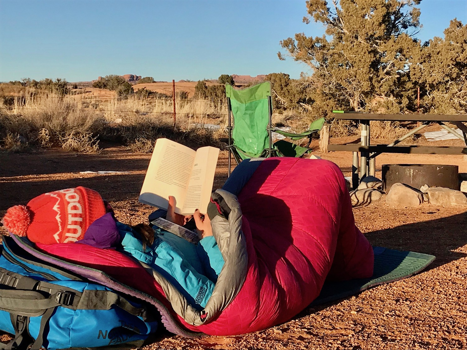 Slickrock Overnight. It doesn't always have to be a gnarly adventure––sometimes getting outside means reading a good book from the comfort of your sleeping bag.