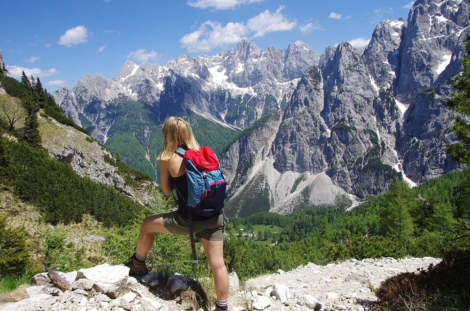 The author looks out over Slovenia's mountains