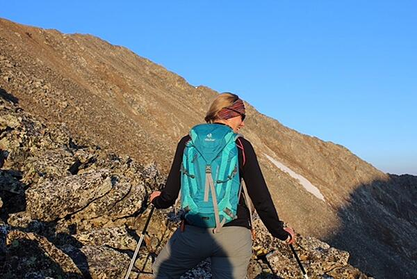 Rebecca Walsh hiking with her Deuter pack