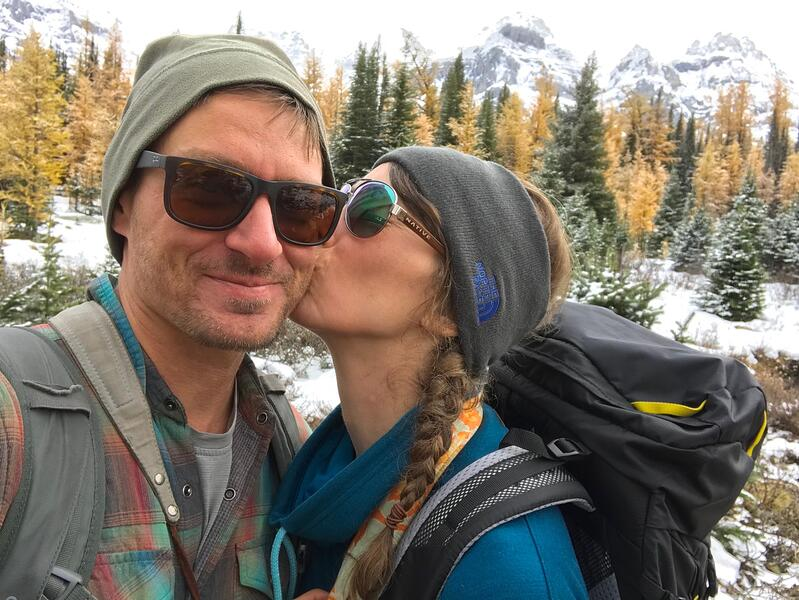 Couple kissing in the mountains